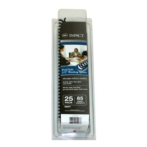 "1/2"" Navy GBC Pro-Click Spines (25/pk) (Discontinued)"