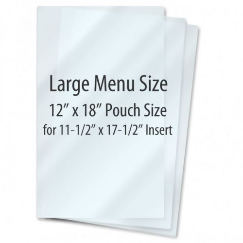 "12"" x 18"" Menu Gloss Pouches [7 Mil] (100/Bx) Item#021218070C"