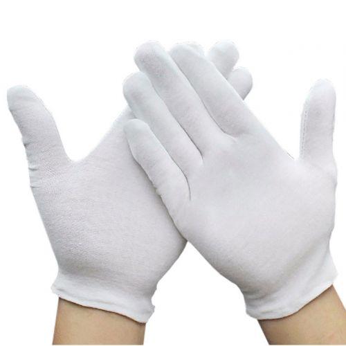 White Cotton Gloves, 100% Cotton Seamless Gloves