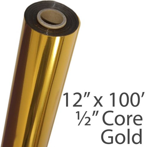 "12"" x 100' Metallic Foil Fusing Rolls with 1/2"" Core [Gold]"