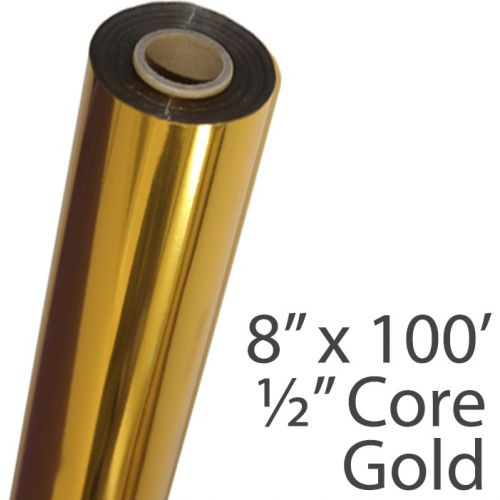 """8"""" x 100' Metallic Gold Foil Roll with 1/2"""" Core"""
