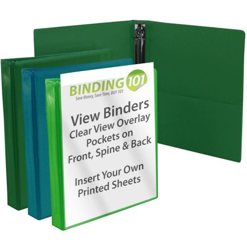 Green Letter Size View Binders (Several Shades Available)