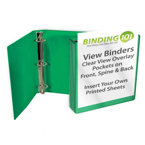 Kelly Green Letter Size Standard View Binders [Round Ring] Image 1