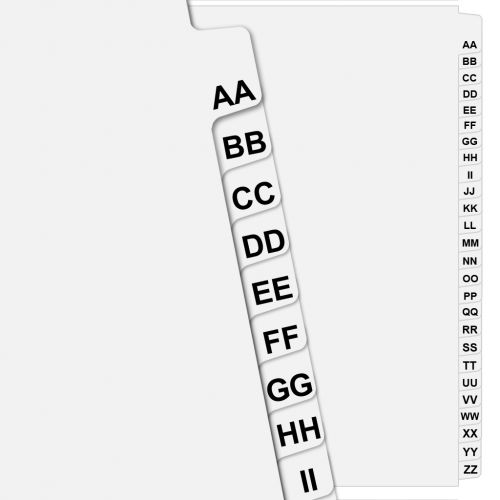 """AA"" - ""ZZ"" Collated Avery Style Side Double Letter Tabs (Pack of 26 Tabs)"