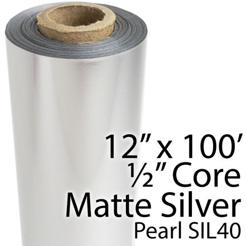 "12"" x 100' Matte Silver (Pearl) Toner Foil Fusing Roll"
