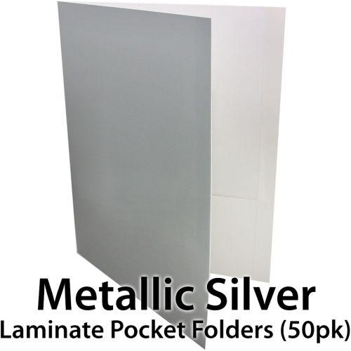 Metallic Silver Pocket Folders