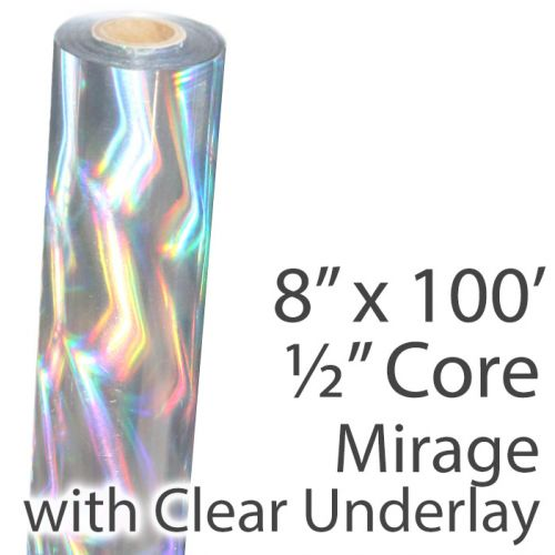 "8"" x 100' Holographic Foil Roll with 1/2"" Core [Mirage, Transparent Underlay] (1 Roll) Item#02FFTP166"
