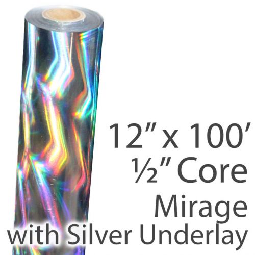 "12"" x 100' Holographic Foil Roll with 1/2"" Core [Mirage, Silver Underlay] (Discontinued)"