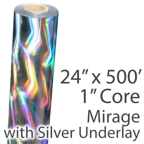 "24"" x 500' Holographic Foil Roll with 1"" Core [Mirage, Silver Underlay] (Discontinued)"