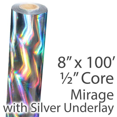 "8"" x 100' Holographic Foil Roll with 1/2"" Core [Mirage, Silver Underlay] (Discontinued)"