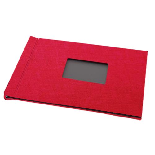 """Red Linen Cloth 8-1/2"""" H x 11"""" W Landscape Pinchbook™ Hardcover Photo Books with Window (5 Pack)"""