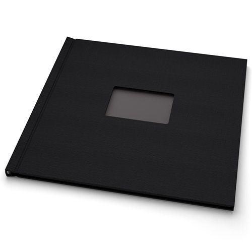 """12"""" H x 12"""" W Square Black Cloth Pinchbook™ Photo Books with Window (5 Pack)"""