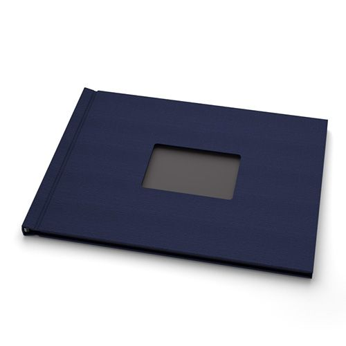 "Navy Linen Cloth 8-1/2"" H x 11"" W Landscape Pinchbook™ Hardcover Photo Books with Window (5 Pack)"