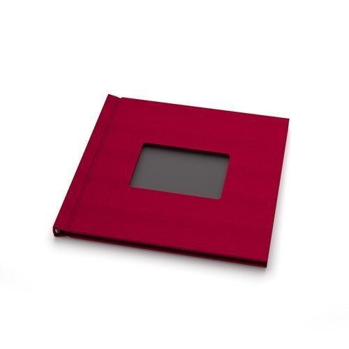 """Red Linen Cloth 8"""" H x 8"""" W Square Pinchbook™ Hardcover Photo Books with Window (5 Pack) - Clearance Sale"""