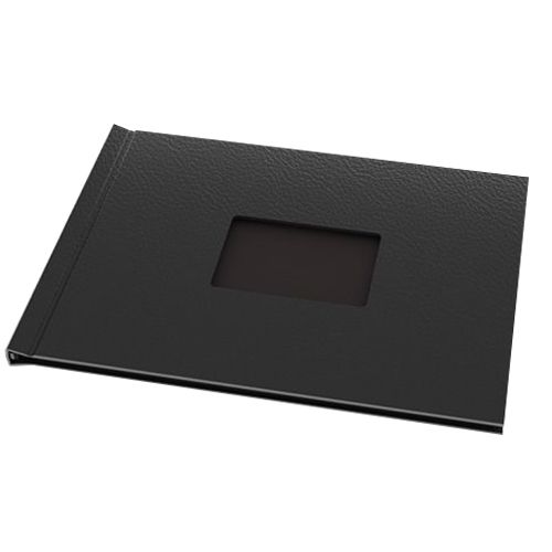 """Black Vegan Leather 8-1/2"""" H x11-3/4"""" W Landscape Pinchbook™ Hardcovers with Window (5 Pack)"""