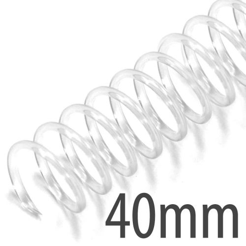 "40mm (1-5/8"") Clear Spiral Plastic Coils [12"" Long, 4:1 Pitch, 350 Sheet Capacity (approx)] (100/Box)"
