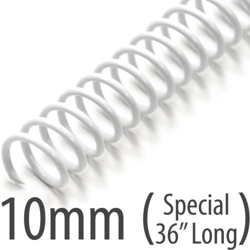 "10mm White Plastic Coil Bindings + 36"" Long Spiral Binding Coils"