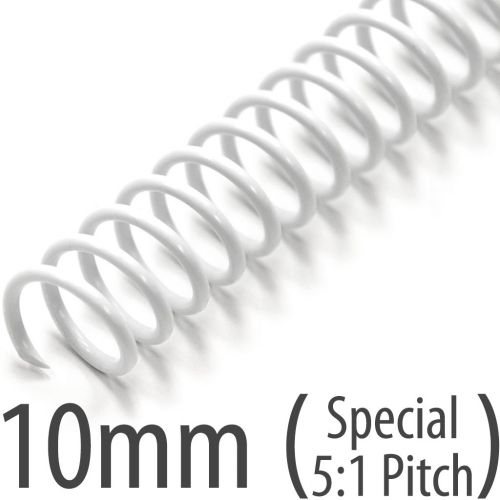 10mm White Plastic Coil Bindings + 5:1 Pitch Spiral Binding Coils