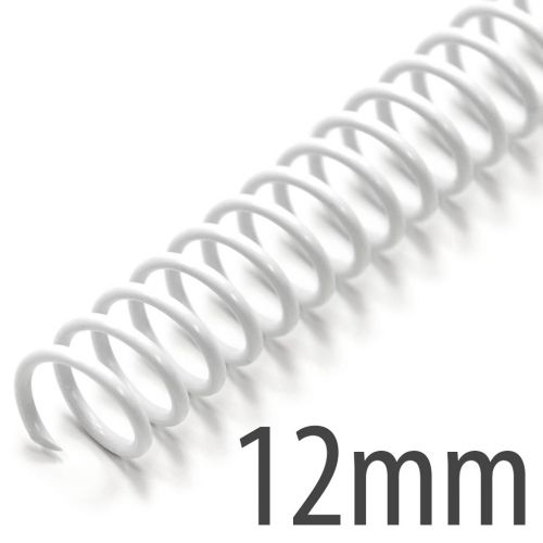 "12mm (1/2"") White Spiral Plastic Coils [12"" Long, 4:1 Pitch, 100 Sheet Capacity (approx)] (100/Box)"