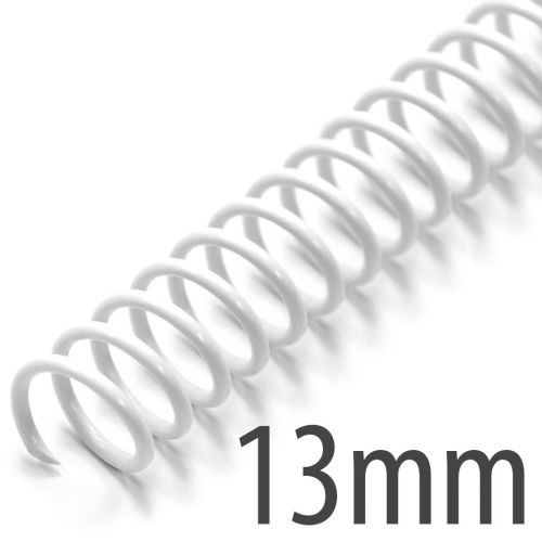 "13mm (17/32"") White Spiral Plastic Coils [12"" Long, 5:1 Pitch, 110 Sheet Capacity (approx)] (100/Box)"