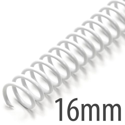 """White 12"""" Spiral Plastic Coils [16mm, 5/8"""", 5:1 Pitch] (100/Box) Item#335116WHIT"""