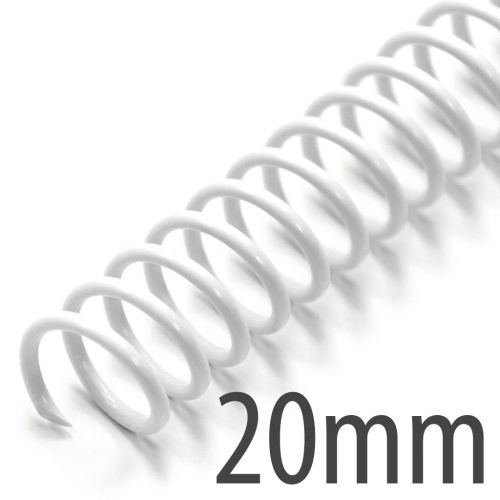 "20mm (3/4"") White Spiral Plastic Coils [12"" Long, 4:1 Pitch, 170 Sheet Capacity (approx)] (100/Box)"