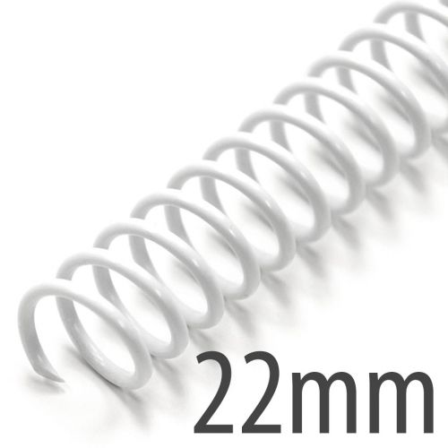 "22mm (7/8"") White Spiral Plastic Coils [12"" Long, 4:1 Pitch, 200 Sheet Capacity (approx)] (100/Box)"