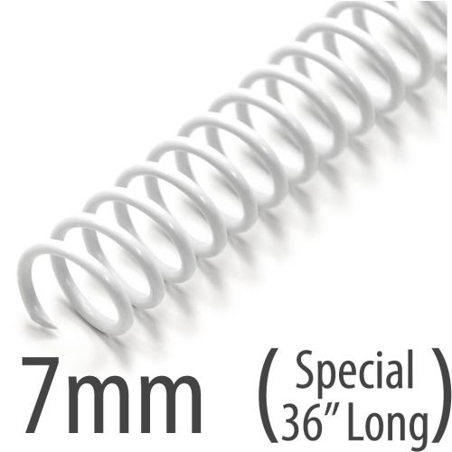 "White 7mm 36"" Spiral Binding Coils"