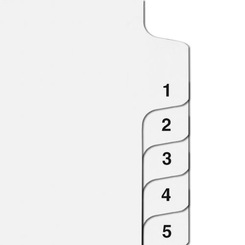 Side Number Tabs in Collated Set 1 to 25 - Letter Size Legal Dividers