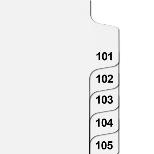 Side Number Tabs in Collated Set 101 to 125 - Letter Size Legal Dividers