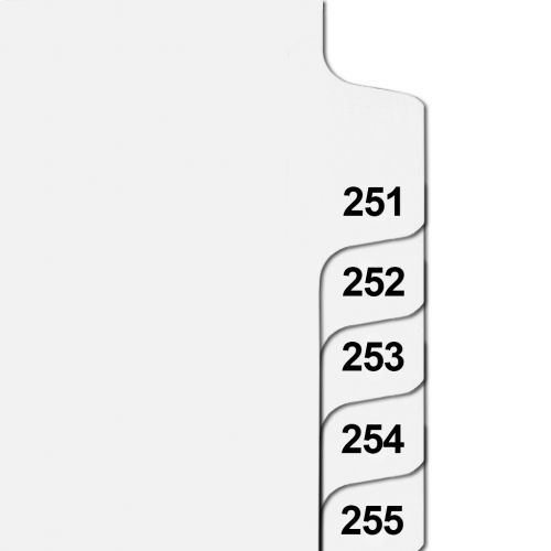 Side Number Tabs in Collated Set 251 to 275 - Letter Size Legal Dividers