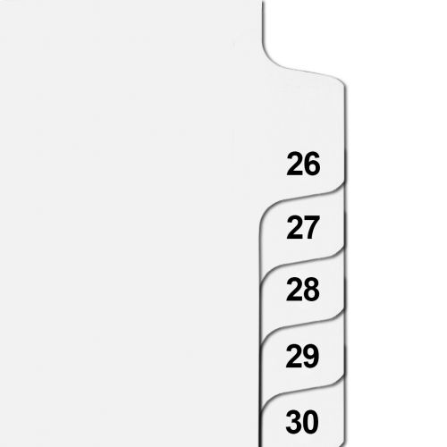 Side Number Tabs in Collated Set 26 to 50 - Letter Size Legal Dividers