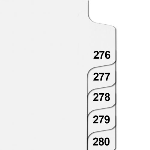 Side Number Tabs in Collated Set 276 to 300 - Letter Size Legal Dividers