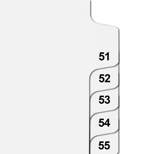 Side Number Tabs in Collated Set 51 to 75 - Letter Size Legal Dividers