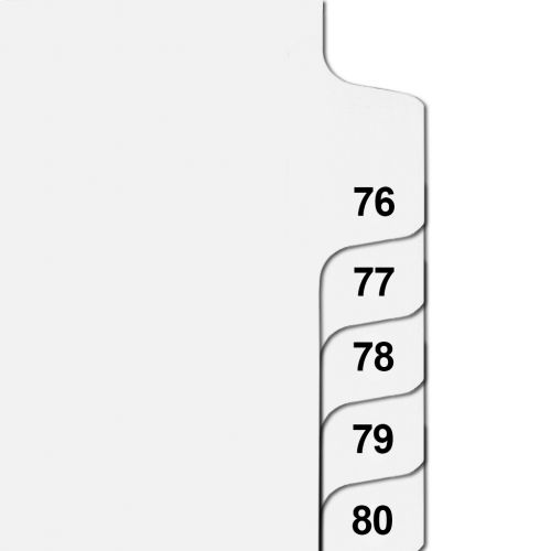 Side Number Tabs in Collated Set 76 to 100 - Letter Size Legal Dividers