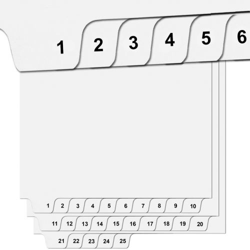 """""""1"""" to """"25"""" Collated Avery Style Bottom Number Tabs (25/pk)"""