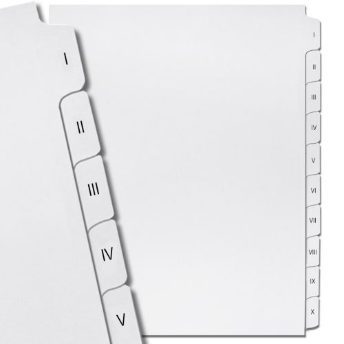 Roman Numeral Printed Legal Index Tab Dividers