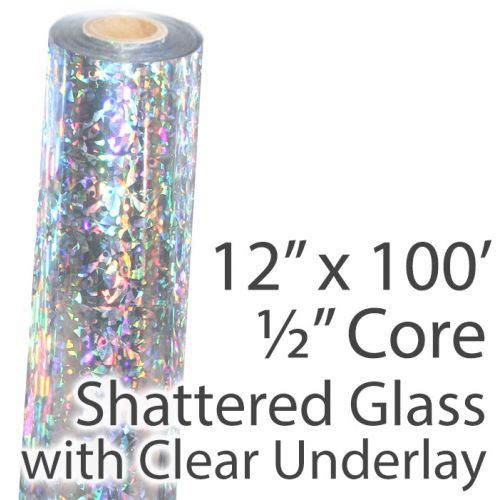 """12"""" x 100' Holographic Foil Roll with 1/2"""" Core [Shattered Glass, Transparent Underlay] (1 Roll) Item#02FFTP15212"""