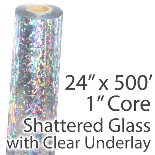 """24"""" x 500' Holographic Foil Roll with 1"""" Core [Shattered Glass, Transparent Underlay] (1 Roll) Item#02FFHFTP148"""