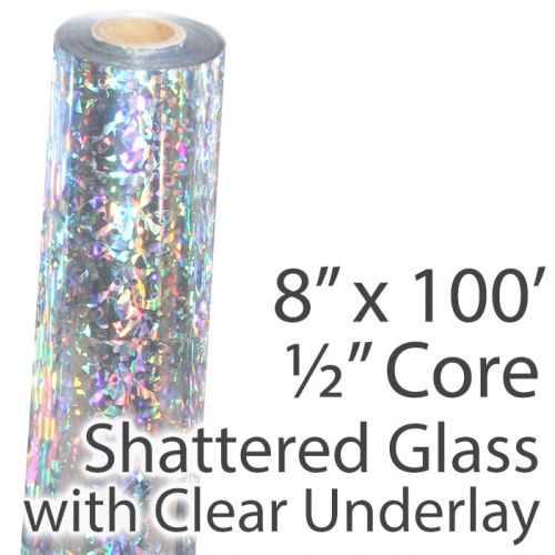 """8"""" x 100' Holographic Foil Roll with 1/2"""" Core [Shattered Glass, Transparent Underlay] (1 Roll) Item#02FFTP152"""