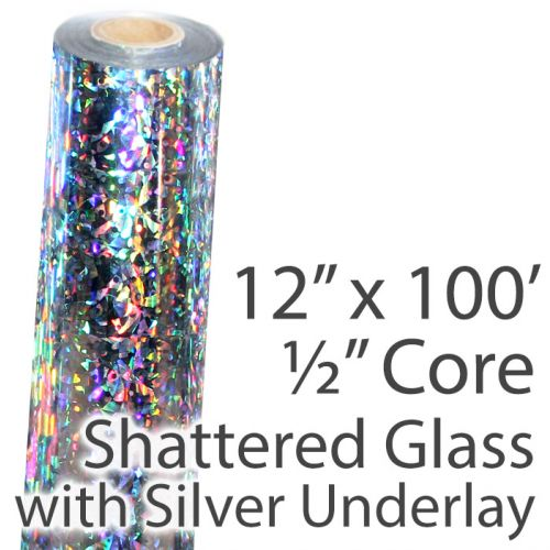 """12"""" x 100' Holographic Foil Roll with 1/2"""" Core [Shattered Glass, Silver Underlay] (1 Roll) Item#02FFHSP152"""