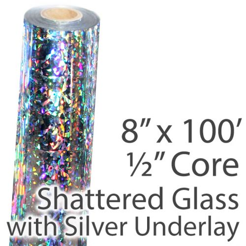 """8"""" x 100' Shattered Glass Holographic Foil Roll with 1/2"""" Core [Silver Underlay] (1 Roll) Item#02FFSP152"""