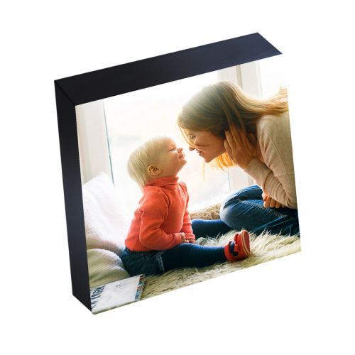 5x5 inch Silver Linings Peel-and-Stick Photo Blocks with Black Edge