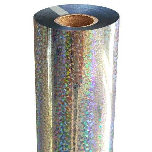 """8"""" x 100' Sparkle Glitter Silver-Underlay Laminating Toner Foil with 1/2"""" Core (1 Roll) #SP-156"""