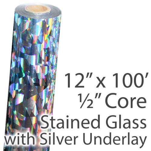 "12"" x 100' Holographic Foil Roll with 1/2"" Core [Stained Glass, Silver Underlay] (1 Roll) Item#02FFHSP170"