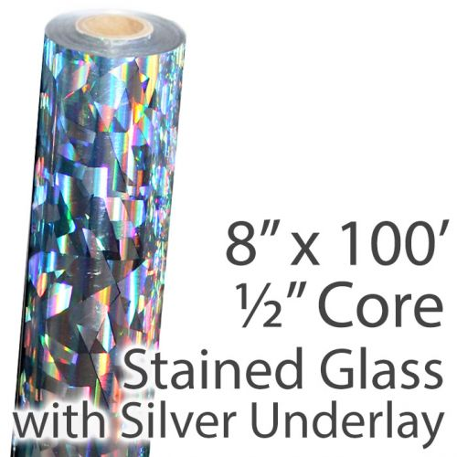 """8"""" x 100' Holographic Foil Roll with 1/2"""" Core [Stained Glass, Silver Underlay] (1 Roll) Item#02FFSP170"""