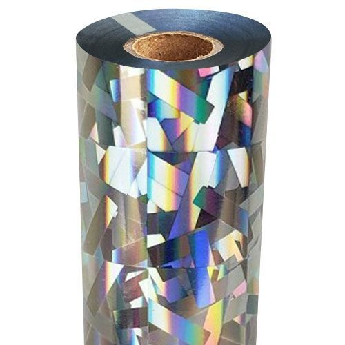 """8"""" x 100' Stained Glass Holographic Clear-Underlay Laminating Toner Foil with 1/2"""" Core (1 Roll) #TP-170 (Discontinued)"""