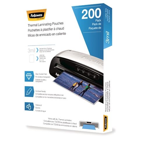 Fellowes 3mil Letter Size Thermal Laminating Pouches (Pack of 200) - 5743401 Image 1