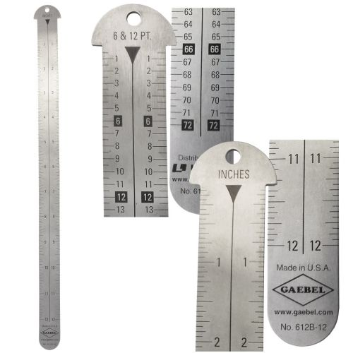 "Style 612B-12 Stainless Steel 12"" Gaebel Line Gauge [Inches / Inches, 6 & 12 Pt / 6 & 12 Pt]"
