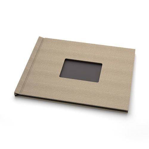 """Taupe Linen Cloth 8"""" H x 10"""" W Landscape Pinchbook™ Hardcover Photo Books with Window (5 Pack) - Clearance Sale"""